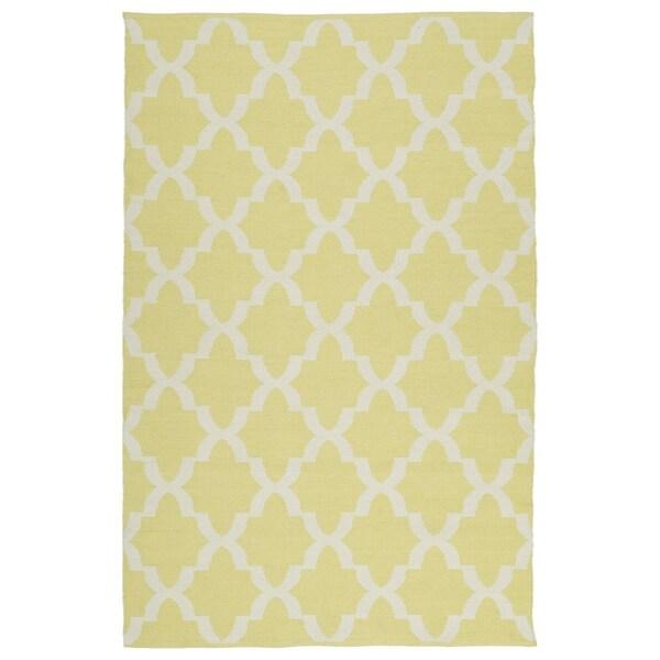 Indoor/Outdoor Laguna Yellow and Ivory Trellis Flat-Weave Rug - 8' x 10'