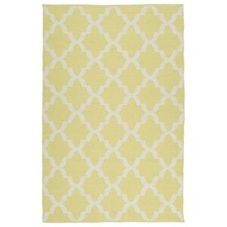 Indoor/Outdoor Laguna Yellow and Ivory Trellis Flat-Weave Rug (8'0 x 10'0)