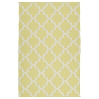 Indoor/Outdoor Laguna Yellow and Ivory Trellis Flat-Weave Rug (5' x 7'6)