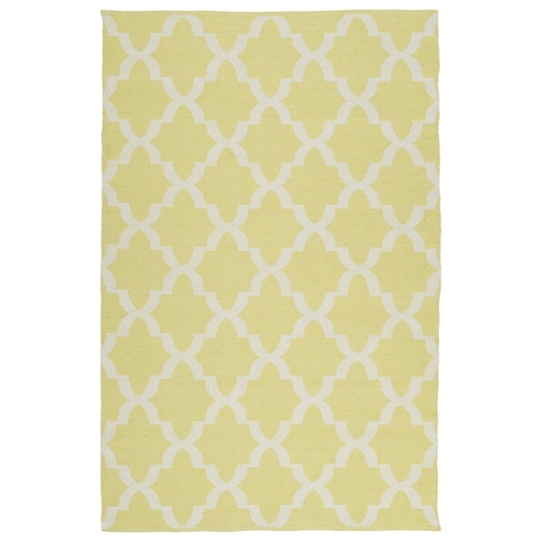 Indoor/Outdoor Laguna Yellow and Ivory Trellis Flat-Weave Rug (3' x 5')