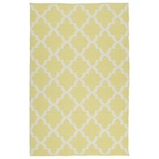 Indoor/Outdoor Laguna Yellow and Ivory Trellis Flat-Weave Rug (3' x 5')
