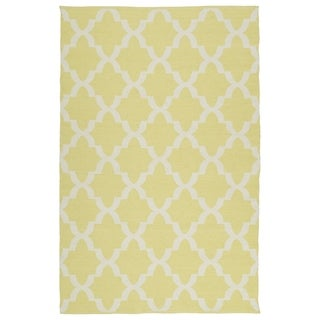 Indoor/Outdoor Laguna Yellow and Ivory Trellis Flat-Weave Rug (2' x 3')