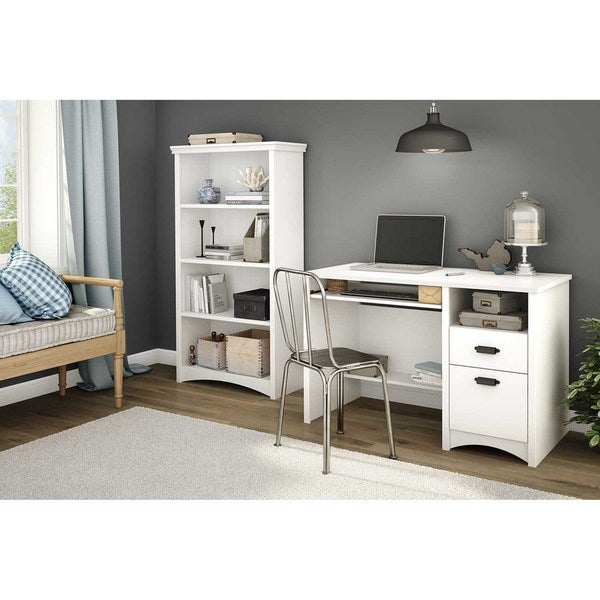 Shop South Shore Pure White Gascony 4 Shelf Bookcase Free Shipping Today Overstock 10191115