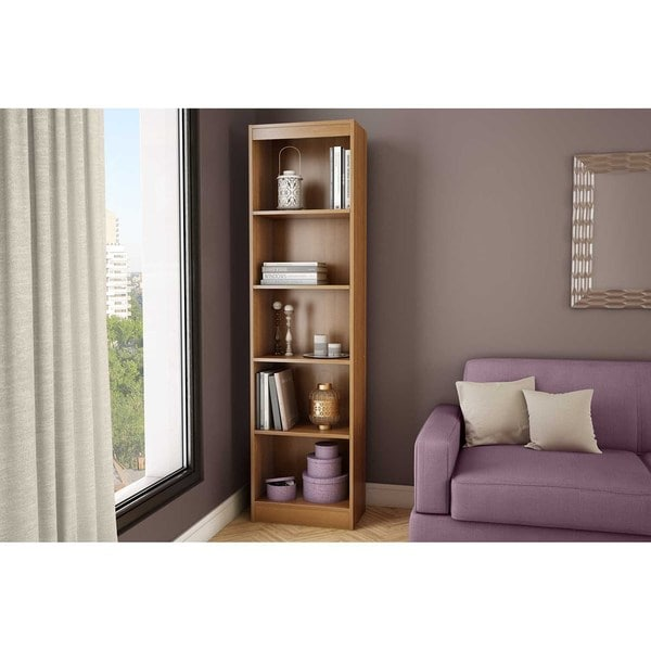 south shore axess morgan cherry 5shelf narrow bookcase