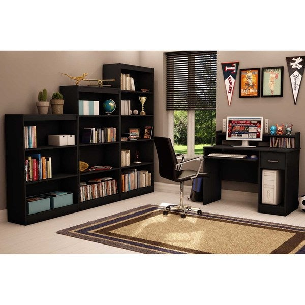 South Shore Pure Black Axess 4 Shelf Bookcase