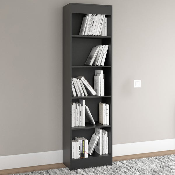 South Shore Pure Black Axess 5 Shelf Narrow Bookcase