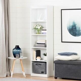 South Shore Furniture Axess Pure White Wood 5 Shelf Narrow Bookcase
