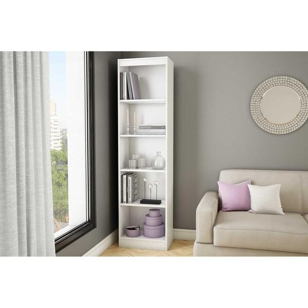 south shore axess pure white 5 shelf narrow bookcase