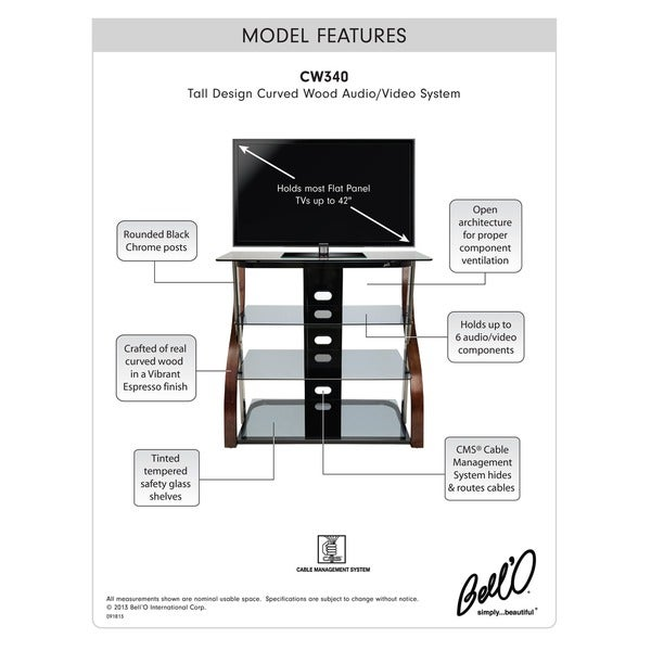BellO CW340 40 inch Espresso Tall TV Stand for TVs up to 42 inches ca6b1ab5 dcf9 4a29 bbcd c53c12ced146_600 bell'o tall curved 40 inch black chrome audio video system free  at soozxer.org