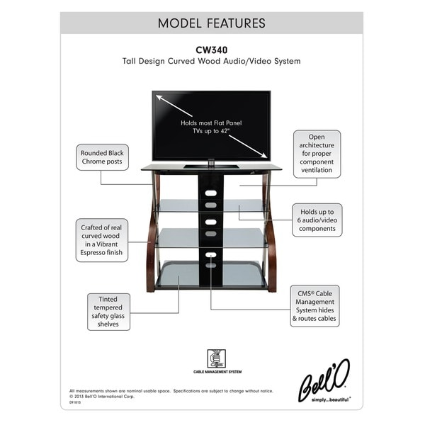 BellO CW340 40 inch Espresso Tall TV Stand for TVs up to 42 inches ca6b1ab5 dcf9 4a29 bbcd c53c12ced146_600 bell'o tall curved 40 inch black chrome audio video system free  at fashall.co