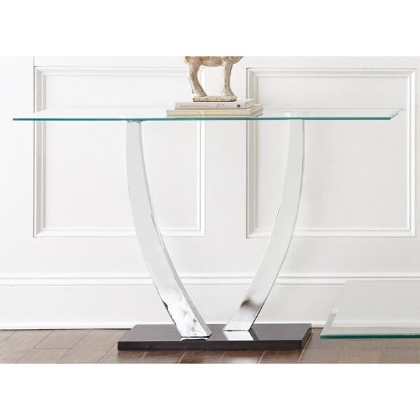 Greyson Living Kendal Chrome And Glass Sofa Table Free
