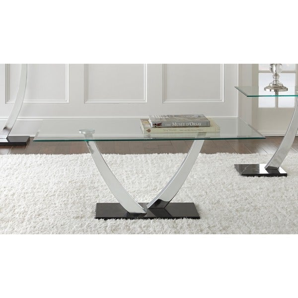 Kendal Chrome And Glass Coffee Table By Greyson Living