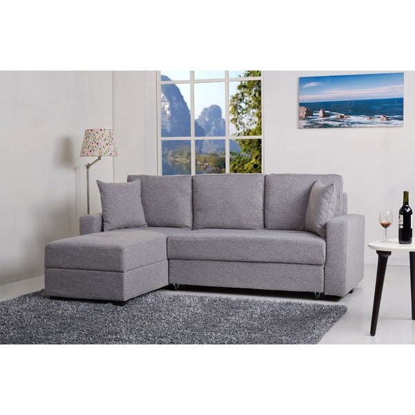 Aspen ash convertible sectional storage sofa bed free for Sectional sofa that converts to bed