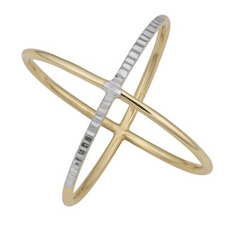 Fremada 14k Two-tone Gold High Polish and Diamond-cut Crossover Ring