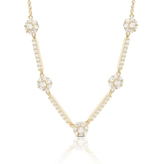 Dolce Giavonna Sterling Silver Cubic Zirconia Flower Necklace