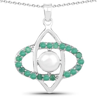 Malaika Sterling Silver 5/8ct Emerald and Pearl Necklace