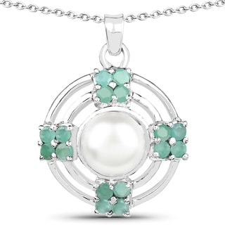 Malaika Sterling Silver 1 1/10ct Emerald and Pearl Necklace