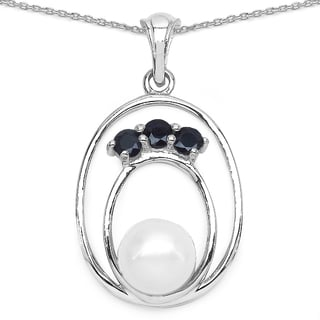 Malaika Sterling Silver Blue Sapphire and Pearl Necklace