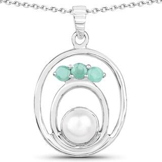 Malaika 2.87 Carat Genuine Emerald and Pearl .925 Streling Silver Pendant
