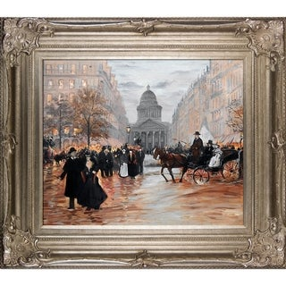 Jean Francois Raffaelli 'Boulevard Saint-Michel' Hand Painted Framed Canvas Art
