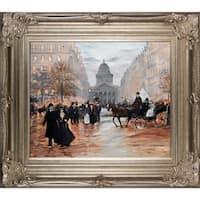Jean Francois Raffaelli 'Boulevard Saint-Michel' Hand Painted Framed Canvas Art