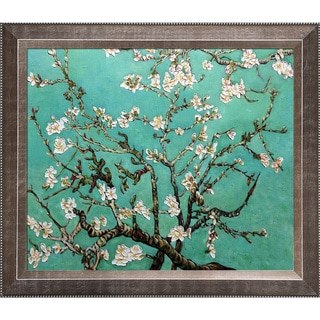 La Pastiche Original 'Branches of an Almond Tree in Blossom, Jade' Hand-painted Framed Canvas Art