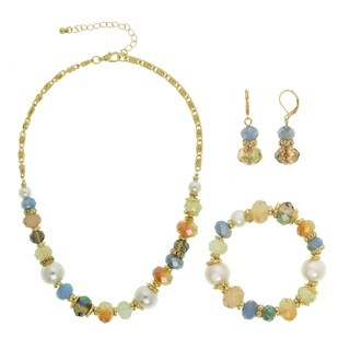 Alexa Starr Goldtone Multi-cut Glass Pearl Necklace Clip-on or Pierced Jewelry Set