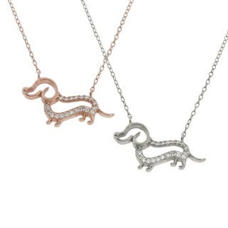 Eternally Haute Sterling Silver Pave Dachshund Dog Necklace
