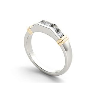 De Couer 14k Two-Tone White Gold 1/2ct TDW Diamond Men's Wedding Band