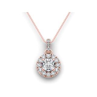 De Couer 14k Rose Gold 1 1/2ct TDW Diamond Halo Necklace (H-I, I2)