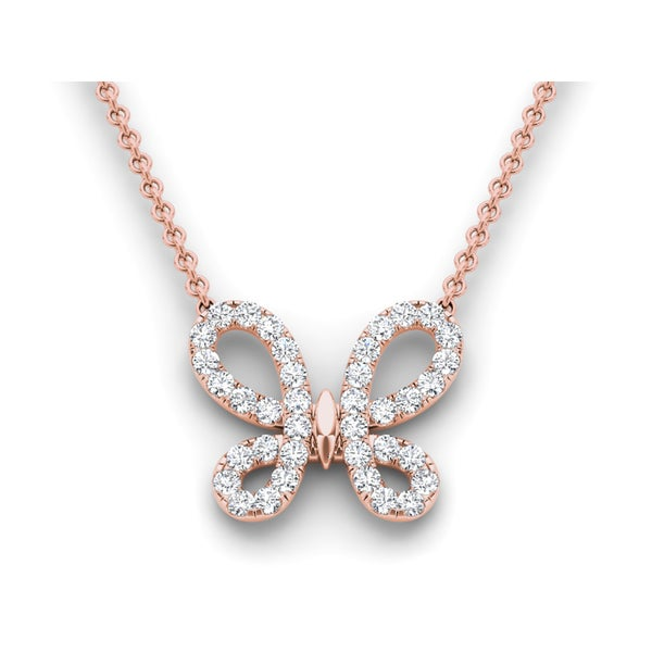 De Couer 14k Rose Gold 1/2ct TDW Diamond Butterfly Necklace - Pink