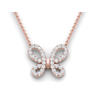 De Couer 14k Rose Gold 1/2ct TDW Diamond Butterfly Necklace (H-I, I2)
