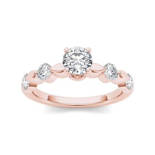 De couer 14k Rose Gold 1ct TDW Diamond Classic Engagement Ring