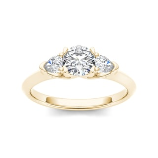 De Couer 14k Yellow Gold 1ct TDW Diamond Three-Stone Anniversary Ring (H-I, I2)