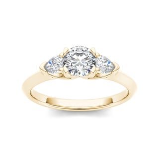 De Couer 14k Yellow Gold 1ct TDW Diamond Three-Stone Anniversary Ring
