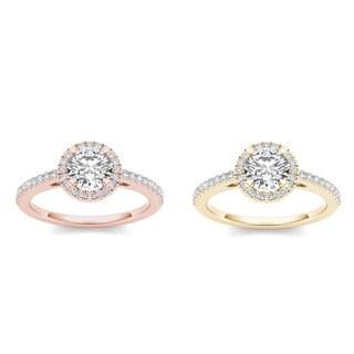 De Couer 14k Gold 1 1/4ct TDW Diamond Halo Engagement Ring (H-I, I2)