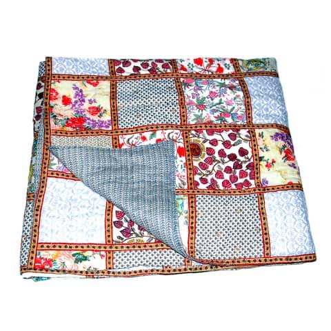 Handmade Organic Cotton Block Print Patchwork Quilt (India)