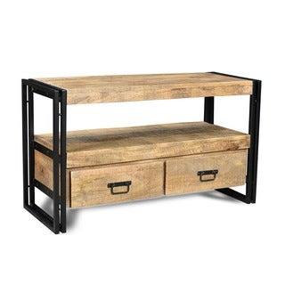Timbergirl Reclaimed Wood TV cabinet with Double Drawers