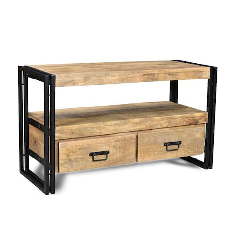 Timbergirl Reclaimed Wood TV cabinet with Double Drawers - 40x16x24
