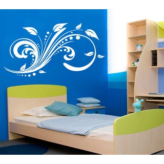 Flower Leafs Swirls Floral Pattern Vinyl Sticker Wall Art