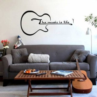 The Music Is Life Guitar Inspirational Vinyl Sticker Wall Art Free Shipping On Orders Over 45