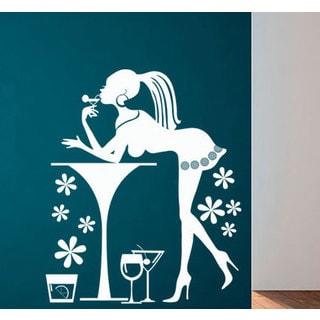 Martini Girl Kitchen Vinyl Sticker Wall Art