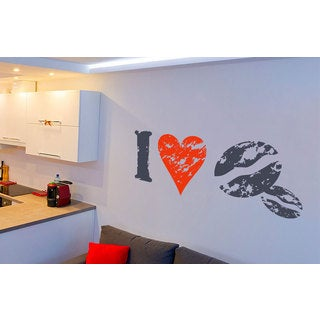 I Love Coffee Kitchen Vinyl Sticker Wall Art