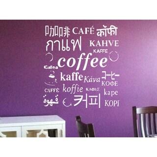 Coffee Different languages Kitchen Vinyl Sticker Wall Art