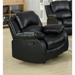 LYKE Home Kayla Black Bonded Leather Chair