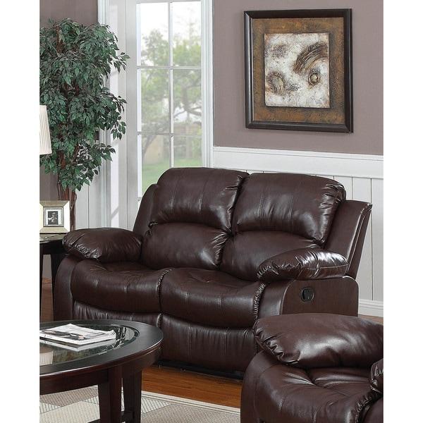 LYKE Home Kayla Brown Bonded Leather Loveseat