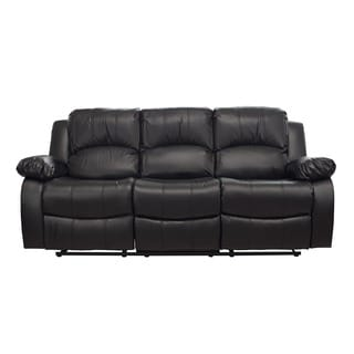 LYKE Home Kayla Black Bonded Leather Sofa