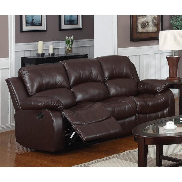 Shop Lyke Home Kayla Brown Bonded Leather Sofa Free