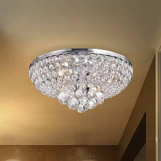 The Lighting Store Francisca 4 Light Chrome Finishand Crystal Flush Mount Chandelier