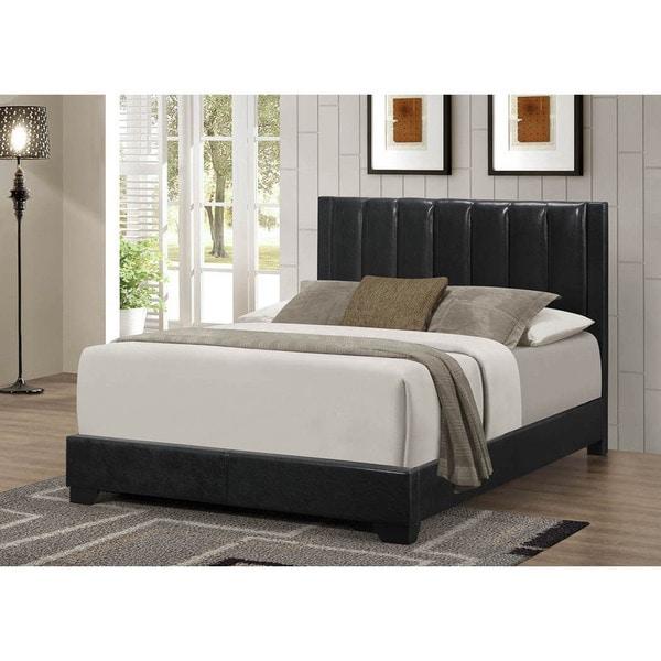 LYKE Home Moda Black PU Queen Bed Frame
